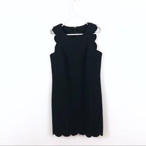 J. Crew Black Scalloped Hem Mini Shift Dress